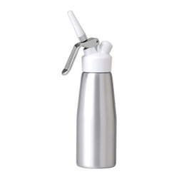 "Berghoff - Berghoff Hotel Line Cream Whipper 500 Milliliters - This professional style cream whipper dispenses perfectly whipped cream with ease. Great for topping deserts or beverages. Measures: (3 1/4"" x 3 1/4"" x 8 1/4"") Includes: 3-pc decorators and cleaning brush. Fitted for an N2O charger (sold separately)."
