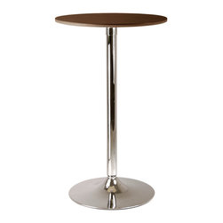 Winsome Wood - Winsome Wood Kallie 23.5 Inch Round Pub Table in Cappuccino - 23.5 Inch Round Pub Table in Cappuccino belongs to Kallie Collection by Winsome Wood Sleek, chic and over-the-top contemporary describe this table top ��_��_��_��_��_cappuccino finish��_��_��_��_��_ veneer of MDF and metal pub table. The bar-counter height is perfect for standing at and having a conversation or match with our Air-Lift Stools for a cozy chat or small dinner. Lots of possibilities with this versatile table and it��_��_��_��_��_��_s small enough to fit most anywhere. Pub Table (1)