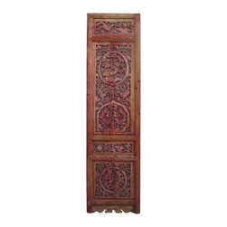 Golden Lotus - Chinese Animals Open Carving Wood Panel Decor - This is an old Chinese wood panel with lucky animals open carvings around. It is rustic with worn off marks and wood crack. Loose part will be fixed.