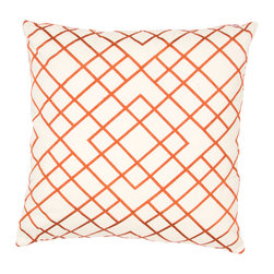 Jaipur Rugs - Handmade Cotton Orange/Ivory/White (20''x20'') Pillow - Modena is a cotton based pillow embroidered with geometric designs.  Add to a  bed or side chair for a great accent.