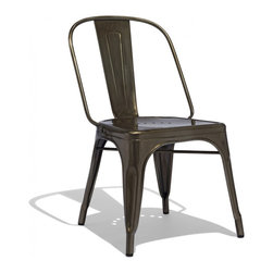 Industry West - Marais AC Chair - The AC chair is the big brother to the Marais A Side Chair, featuring a wider stance and seat. Originally found in the traditional bistros across France these chairs are now widely available in a variety of finishes and colors in the Unites States. Our AC chairs are meticulously crafted from grade A steel and precision welded to ensure durability in the most rigorous workplaces. Slight abrasions and variations are characteristic of the chair's machine aesthetic. The Marais AC Chairs are stackable up to 8-high and feature rubber feet for smooth gliding across all flooring surfaces.