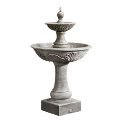 Campania - Campania Acanthus Two Tiered Garden Water Fountain, English Moss - Add beauty, class and style to your outdoor area with the Acanthus Two Tiered Fountain of elegance. Water bubbles out of the top of the sphere shaped finial, overflowing the tier into the bowl below. Made from durable reinforced cast stone; pump included.