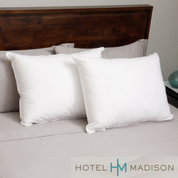 Hotel Madison - Hotel Madison 230 Thread Count Three Chamber Down Alternative Pillow (Set of 2) - The Hotel Madison three-chamber pillow features 230 thread count cotton fabric filled with two types of cluster fiber. This pillow has three separate chambers sewn inside the pillow which are filled individually.