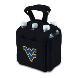 Picnic Time - West Virginia University Six Pack Insulated Beverage Carrier in Black - When planning to enjoy beverages away from home, the Six Pack is the perfect way to carry them to your destination. The Six Pack is an insulated beverage carrier that fits most water, beer, and soda in bottles or cans up to 20 oz., allowing you to carry an assortment of beverages. It is made of durable neoprene and features a front pocket and reinforced handles. Let the fun begin with the Six Pack by Picnic Time.; College Name: West Virginia University; Mascot: Mountaineers; Decoration: Digital Print