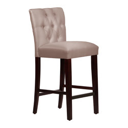 None - Made-to-Order Tufted Mor Barstool - Upholstered tufted Mor barstool with solid pine frame,plush foam padding and a luxurious faux silk fabric.