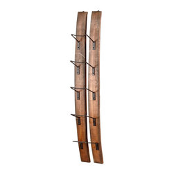 Cyan Design - Cyan Design Small Fresno Wall Wine Holder X-20940 - From the Fresno Collection, this Cyan Design wine holder is perfect for those who mix modern flair with industrial charm. The wooden planks feature a simple curvilinear shape, complimented by durable but slim metal supports that hold the wine bottles of your choosing.