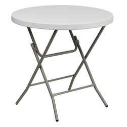 Flash Furniture - Flash Furniture 32 Inch Round Granite White Plastic Folding Table - RB-32R-GW-GG - This unique commercial grade table can be used in banquet halls, cafeterias, or in the home. This table is a great solution for temporary seating for gatherings. Flash Furniture's 32'' round folding table features a durable stain resistant blow molded top and sturdy frame. The blow molded top requires low maintenance and cleans easily. The table's legs lock in place in a snap with the leg locking system for easy set-ups. [RB-32R-GW-GG]