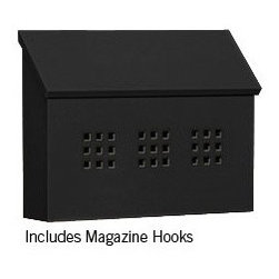 Salsbury Horizontal Mailbox in Black - This Salsbury horizontal wall-mount mailbox has a powder-coated finish for durability.  It has a window grid with a privacy plate to block your mail from being seen.  Available for $94.92 with free shipping at http://www.mailboxixchange.com