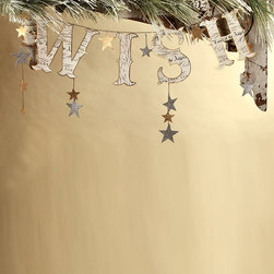 Wish Garland - Make a wish for your season to be full of love, happiness and inspiration with the ever whimsical Wish Garland. Constructed from elegantly printed pressed paper, glass glitter and antiqued chain that showcase an old world charm. Hang on a wreath or a tree or wherever you deem it best and add a special touch to your holiday displays.