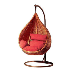 Natural Wicker Nest Hanging Chair - Dimensions 54.0ʺW × 43.0ʺD × 77.0ʺH