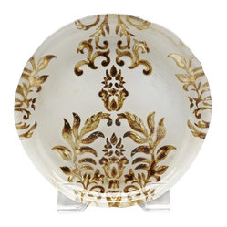 belle & June - Damask Canape Plate Ivory and Gold-Set of 4 - Dimensions:  6""