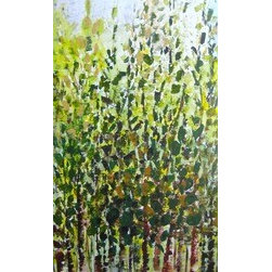 Emerald Forest (Original) by Devika Keskar - ORIGINAL abstract TREES painting in gorgeous shades of green, yellow and brown.