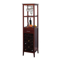 Winsome - Espresso 18 Bottle Wine Rack - This classic wine tower stores eighteen bottles of wine ...