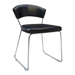 Modloft - Delancy Dining Chair, Black Leatherette - The ultra-modern Delancy dining chair brings a stylish flair into your dining room. A cool combination of steel frame and white reconstituted leather upholstery, this dining chair is aesthetically balanced with originality and ergonomic design. Chair measures 21W x 22D x 30H with a seat height of 19 in. Price for each, sold by pair only. Imported.