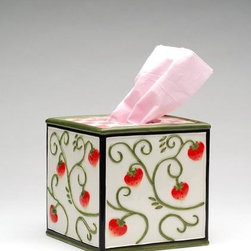 ATD - 5.5 Inch Porcelain Tissue Box Holder with Strawberry on Vine Design - This gorgeous 5.5 Inch Porcelain Tissue Box Holder with Strawberry on Vine Design has the finest details and highest quality you will find anywhere! 5.5 Inch Porcelain Tissue Box Holder with Strawberry on Vine Design is truly remarkable.