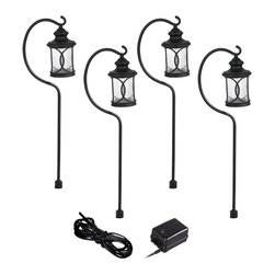 """Lamps Plus - Country - Cottage Troy Black 6-Piece Complete Outdoor LED Landscape Lighting Set - Give your front or backyard stylish accent lighting with this complete landscape lighting set. This kit includes four low-voltage LED path lights with seeded glass globes a black finish and aluminum construction. A 45-watt low voltage transformer is included which features a built-in photocell for dusk to dawn operation. A black landscape wire completes the kit so you can connect your lights bringing this set together for a spectacular look. Works with existing low voltage landscape lighting systems. 6-piece set. 4 LED path lights one 45-watt low voltage transformer cable. Black finish. Path lights include a 1.5 watt LED. Comparable to a 15 watt incandescent bulb. 45 watt transformer. Built-in photo-cell for dusk to dawn operation. 99 feet of cable. Path lights are 34"""" high 4 1/2"""" wide.  6-piece set.  4 LED path lights one 45-watt low voltage transformer cable.  Black finish.  Path lights include a 1.5 watt LED.  Comparable to a 15 watt incandescent bulb.  45 watt transformer.  Built-in photo-cell for dusk to dawn operation.  Full ON mode or three AUTO settings (4 6 and 8 hours).  99 feet of cable.  Ground stakes included.  Path lights are 34"""" high 4 1/2"""" wide."""