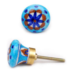 "Knobco - Pinwheels Knob, Turquoise Decorative Ceramic Knob With Blue, Brown And White - Turquoise decorative ceramic knob with blue, brown and white pinwheel  from Jaipur, India. Unique, hand painted cabinet knobs for your kitchen and bathroom cabinets. 1.5"" in diameter. Includes screws for installation."
