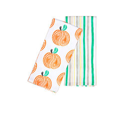 Working Class Studio - Savannah Paisley Collection - Peach - Two Tea Towels - These peachy keen tea towels will charm one and all with their fresh and juicy twist on Southern paisley prints. Perfect for serving up peach cobbler with tea, you can use the paisley peach towel to cover the warm pastries and the coordinating stripe towel to line the tea tray.