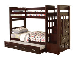 """Adarn Inc. - Allentown Espresso Wood Twin Twin Bunk Bed w/ Storage Stairway Drawers Trundle - This listing is for a brand new contemporary style twin over twin bunk bed from the """"Allentown"""". Featuring a unique staircase w/ built-in drawers for functionality and efficiency, while clean lines and espresso finish contribute to relaxed style. In addition, the twin over twin bunk bed also comes with a twin under bed trundle. The storage drawers provide space for linens or toys and the under-bed trundle bed makes this bed perfect for a sleepover. This bunk bed features solid wood construction and comes in a beautiful espresso finish. This is truly a unique bunk bed that combines functionality and style. This listing if for a twin over twin bunk bed w/ staircase and under bed trundle only. Mattress, bedding and accessories are not included."""