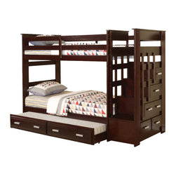 "Adarn Inc. - Allentown Espresso Wood Twin Twin Bunk Bed w/ Storage Stairway Drawers Trundle - This listing is for a brand new contemporary style twin over twin bunk bed from the ""Allentown"". Featuring a unique staircase w/ built-in drawers for functionality and efficiency, while clean lines and espresso finish contribute to relaxed style. In addition, the twin over twin bunk bed also comes with a twin under bed trundle. The storage drawers provide space for linens or toys and the under-bed trundle bed makes this bed perfect for a sleepover. This bunk bed features solid wood construction and comes in a beautiful espresso finish. This is truly a unique bunk bed that combines functionality and style. This listing if for a twin over twin bunk bed w/ staircase and under bed trundle only. Mattress, bedding and accessories are not included."