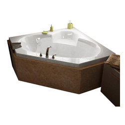 Spa World Corp - Atlantis Tubs 6060SAL Sublime 60x60x23 Inch Corner Air Jetted Bathtub - The sublime collection features a classic corner tub design with an oval opening that will fit perfectly into any bathroom design setting. Molded seat provides comfort and safety. An air pool bathtub creates thousands of warm bubbles that stimulate the skin's light touch receptors, producing an overall calming effect. An air blower works like a giant hair dryer, taking the room temperature air, increasing it by approximately 30-degrees and blowing it through the bath. Air baths differ from a whirlpool in that the massage is much softer. Drop-in tubs have a finished rim designed to drop into a deck or custom surround. They can be installed in a variety of ways like corners, peninsulas, islands, recesses or sunk into the floor. A drop in bath is supported from below and has a self rimming edge that is designed to sit over a frame topped with a tile or other water resistant material. The trim for the air or water jets is featured in white to color match the tub.