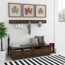 None - Entry Hall Storage - This entry hall storage unit is perfect for shoes and book bags. Featuring two framed front drawers and a decorative arched kick,this storage unit has a rich cherry finish.