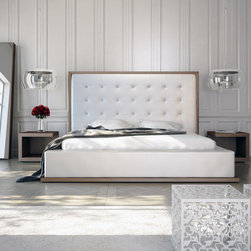 Modloft - Ludlow Queen Bed, Walnut-White Leatherette - The awe-inspiring Ludlow eco leather bed commands instant attention when entering a room. The lavish button-tufted headboard stands five feet tall, elegantly framed in a wood border to match any decor. The smooth headboard seamlessly blends into its matching leather base with a wood border along the bottom edge. The mattress sits snuggly atop a solid pine-slat base for stylistic durability and added comfort. Platform height measures 14 inches (3 inch inset).  Available in California-King, Eastern (Standard) King, and Queen sizes. Color combinations include Wenge/White, Wenge/Taupe, or Walnut/White. Eco leather material. Assembly required. Mattress not included. Imported.