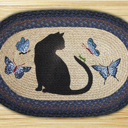 Earth Rugs - OP-100 Cat/Grasshopper Oval Patch 20in.x30in. - Cat/Grasshopper Oval Patch 20 in. x30 in.