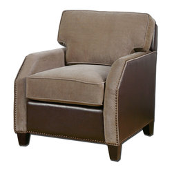 Uttermost - Dillard Velvet Armchair - This new take on the old club chair will have you purring. The super plush velvet seating invites you to sink in and stay a while. The rich, chocolate brown leather with coffee brown accent nails bring this chair to a whole new level. Pair it with the Dillard Velvet Ottoman and you'll never leave the room.