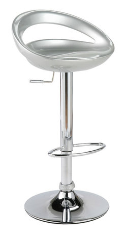 Eurostyle - Agnes Bar/Counter Stool-Slvr/Chr - Molded ABS plastic seat