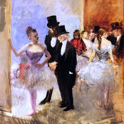 """Jean-Louis Forain Gentlemen of the Opera (also known as The Dance Studio) - 16"""" - 16"""" x 20"""" Jean-Louis Forain Gentlemen of the Opera (also known as The Dance Studio) premium archival print reproduced to meet museum quality standards. Our museum quality archival prints are produced using high-precision print technology for a more accurate reproduction printed on high quality, heavyweight matte presentation paper with fade-resistant, archival inks. Our progressive business model allows us to offer works of art to you at the best wholesale pricing, significantly less than art gallery prices, affordable to all. This line of artwork is produced with extra white border space (if you choose to have it framed, for your framer to work with to frame properly or utilize a larger mat and/or frame).  We present a comprehensive collection of exceptional art reproductions byJean-Louis Forain."""