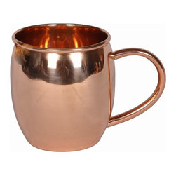 Custom Copper Mugs, LLC - Barrel Shape Copper Mug - 16 oz - Our Moscow Mule Mugs are constructed of 100% pure copper. We apply a food-safe lacquer that resists tarnishing for lasting beauty and luster. The mug of choice when serving the infamous Moscow Mule--a cocktail made from a blend of vodka, ginger beer, and lime juice. The copper mug enhances the flavor and keeps the drink colder, longer.