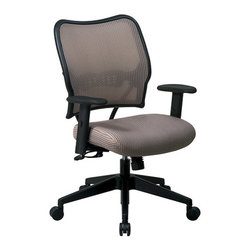 """Office Star - VERA with VeraFlex Back Office Chair, Latte - Deluxe chair with shadow VeraFlex back and VeraFlex shadow fabric seat. Breathable VeraFlex back and VeraFlex fabric seat with built-in lumbar support. One touch pneumatic seat height adjustment. 2-to-1 synchro tilt control with adjustable tilt tension. Height and width adjustable arms and PU pads. Heavy duty angled nylon base with oversized dual wheel carpet casters. Seat height-(17.75-22.50), back dimension-20""""w x 19""""h,arms to floor-25.50"""
