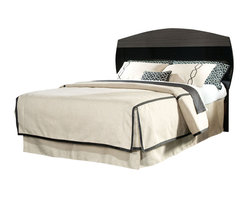Standard Furniture - Standard Furniture Decker Panel Headboard in Black and  Grey - Queen - Our Decker bedroom presents sleek modern styling in a show stopping two-tone finish of gloss black paired with cool grey over highly figured flat-cut graining. Add metal accents in a brushed nickel color, plus crisp and sleek modern styling, and you have an upscale fashion forward look that is perfect for today's home. Modern design features include double look case tops and clean drawer fronts in the grey wood grain color, highlighted by contrasting black edge shapes. Drawer fronts overlap the exposed black case framing to emphasize the grey tone wood grain finished drawer fronts. Case end panels are also finished in the high sheen black color for added drama. All case pieces are accented by metal bracket feet and bowed bar pulls, both in brushed nickel color. Pieces available include a 6 Drawer Dresser, Landscape Mirror, TV/Media Chest, 2 Drawer Nightstand, and Platform bed in full/Queen or King size. The platform bed has a black frame and two tone headboard with a profile shape that echoes the framed landscape mirror. Pair this Modern styled bedroom with one of our fully upholstered beds for a truly sophisticated look.