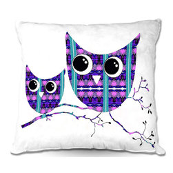 DiaNoche Designs - Pillow Woven Poplin by Susie Kunzelman - Owl Suspenders Purple Blue - Toss this decorative pillow on any bed, sofa or chair, and add personality to your chic and stylish decor. Lay your head against your new art and relax! Made of woven Poly-Poplin.  Includes a cushy supportive pillow insert, zipped inside. Dye Sublimation printing adheres the ink to the material for long life and durability. Double Sided Print, Machine Washable, Product may vary slightly from image.