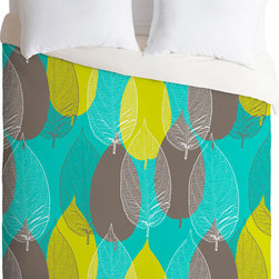 DENY Designs - DENY Designs Aimee St Hill Big Leaves Blue Duvet Cover - Outdoors in. Forty winks look fabulous with the Aimee St Hill Big Leaves Blue Duvet Cover from DENY Designs. Layers of vibrant leaves adorn this artist-designed piece, custom-created using a six-color printing technique that directly dyes the buttery-soft woven front. A cozy cotton-blend on the backside was created for cuddling. Add wood side tables to complete the nature theme, or frame with modern prints to make the pattern pop. Talk about beauty rest! Pillowcases not includedAvailable in multiple sizesZip closureInterior corner tiesCustom printed for every orderWoven polyester front / cotton-polyester backMachine washableDesigned by Aimee St HillMade in the USAShips in 1 week