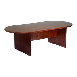 Boss Chairs - Boss Chairs Boss 95 x 47 Race Track Conference Table in Mahogany - Eight foot racetrack style mahogany laminate conference table. Affords eight people adequate workspace for meetings and other gatherings.