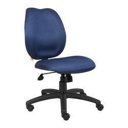 "Boss - Blue Task Chair - Mid-back styling with firm lumbar support. Elegant styling upholstered with commercial grade fabric. Sculptured seat cushion made from molded foam that contour to the shape of your body. Ratchet back height adjustment mechanism which allows perfect positioning of the back cushion and lumbar support. Large 27"" nylon base for greater stability. Pneumatic gas lift provides instant height adjustment of the seat. Adjustable tilt tension that accommodates all different size users. Hooded double wheel casters. Upright locking position. Available in four fabric colors."