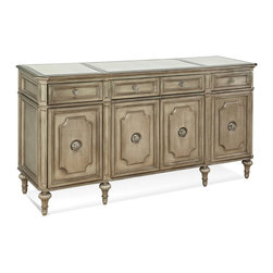 Bassett Mirror - Palazzina Buffet - Old world charm meets functional storage space in this luxurious buffet. The champagne finish and elegant detailing make this the perfect piece for any traditional dining or living room.