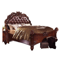 ACME Furniture - Acme Vendome King Panel Bed with Button Tufted Headboard in Cherry - Create an elegant and traditional style look in your master bedroom with this Vendome King Panel Bed with Button Tufted Headboard by ACME Furniture. The ornate headboard features wood carvings, button tufted leather like upholstery and lots of traditional detail. Sitting on carved wood feet, finished in Cherry with more carved details on the footboard and along the rails, this panel bed is sure to create a sophisticated environment in your master bedroom.  This bed is available in Queen, King and California King sizes.
