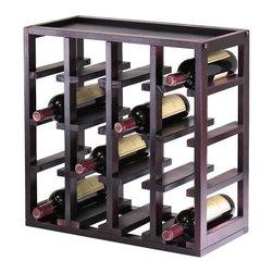 Kingston Stackable 16 Bottle Wine Rack Cube - Create the customized wine storage you've always wanted with the Kingston Stackable 16 Bottle Wine Rack Cube. This wine rack features a 16-bottle capacity capable of accommodating a standard-size wine bottle in each of its slots. This modular wine rack can be easily stacked or arranged side by side with multiple units so you can finish a wine cellar or add attractive wine storage to a countertop or open floor space. This wine cube is crafted from solid wood and wood composites all finished in a bold rich espresso wood stain for lasting beauty. Dimensions: 29.47L x 9.92W x 20.47H inches. About Winsome TradingWinsome Trading has been a manufacturer and distributor of quality products for the home for over 30 years. Specializing in furniture crafted of solid wood Winsome also crafts unique furniture using wrought iron aluminum steel marble and glass. Winsome's home office is located in Woodinville Washington. The company has its own product design and development team offering continuous innovation.