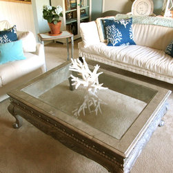 Custom Made Accessories & Furniture - Custom Silver antiqued coffee table with embellishment's and rhinestone tacks.