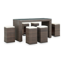 Cubed Outdoor Wicker Patio Pub Table and Six Stool Set in Dark Brown with White
