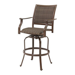Hospitality Rattan - Panama Jack Island Cove Woven Swivel 30 in. Barstool Multicolor - PJO-8001-ESP-S - Shop for Chairs and Sofas from Hayneedle.com! With the comfort of the Panama Jack Island Cove Woven Swivel 30 in. Barstool a bit of extra rotation and elevation never hurt. This handsome chair starts with a frame of tubular extruded aluminum with a charming espresso finish. The supportive and forgiving seat and back are crafted from Panama Jack's synthetic Viro fiber a material that's resistant to rotting cracking and the ravages of a life outdoors. The aluminum body won't rust or corrode and the heavy-duty swiveling and tilting hinge gives you plenty of smooth motion for each one of those 360 degrees. Classic curves and an elegant style make it a must-have for the outdoor season. Minor assembly is required.About Hospitality RattanHospitality Rattan has been a leading manufacturer and distributor of contract quality rattan wicker and bamboo furnishings since 2000. The company's product lines have become dominant in the Casual Rattan Wicker and Outdoor Markets because of their quality construction variety and attractive design. Designed for buyers who appreciate upscale furniture with a tropical feel Hospitality Rattan offers a range of indoor and outdoor collections featuring all-aluminum frames woven with Viro or Rehau synthetic wicker fiber that will not fade or crack when subjected to the elements. Hospitality Rattan furniture is manufactured to hospitality specifications and quality standards which exceed the standards for residential use.Hospitality Rattan's Environmental Commitment Hospitality Rattan is continually looking for ways to limit their impact on the environment and is always trying to use the most environmentally friendly manufacturing techniques and materials possible. The company manufactures the highest quality furniture following sound and responsible environmental policies with minimal impact on natural resources. Hospitality Rattan is also c