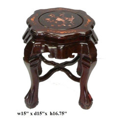 Chinese Rosewood Shell Inlay Stool Ottoman -