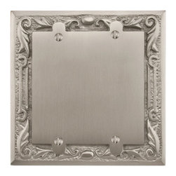 Floral Design Solid Brass Double Blank Plate - Add style to your room while covering up the unsightly or unusable electrical wiring. This floral pattern plate is designed for use on a double gang opening.
