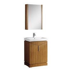 "Fresca - Fresca Elissos 24"" Wild Honey Oak Modern Bathroom Vanity w/ Medicine Cabinet - Fresca Elissos 24"" Wild Honey Oak Modern Bathroom Vanity w/ Medicine Cabinet"
