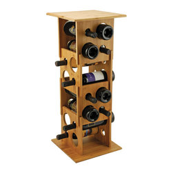 True Fabrications - Wine Rack 16 Bottle Deco Bamboo Wine Rack - Inspired by the art deco era, this one-of-a-kind stackable wine rack can easily be customized to fit your wine collection. Remove a side panel to make a shorter tower to combine all pieces to hold 16 bottles.