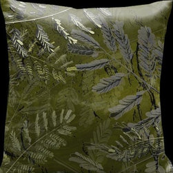 Lama Kasso - Impressions Tropical Greens with Black Accents 18 x 18 Satin Pillow - -Satin Lama Kasso - 129