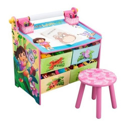 Nickelodeon Dora The Explorer Art Desk With Storage - For Dora fans, the Nickelodeon Dora the Explorer art desk offers not only a large drawing area, but also ample storage. It features a whiteboard desktop with two storage cups, four bins, a cute pink stool and a roll of art paper.